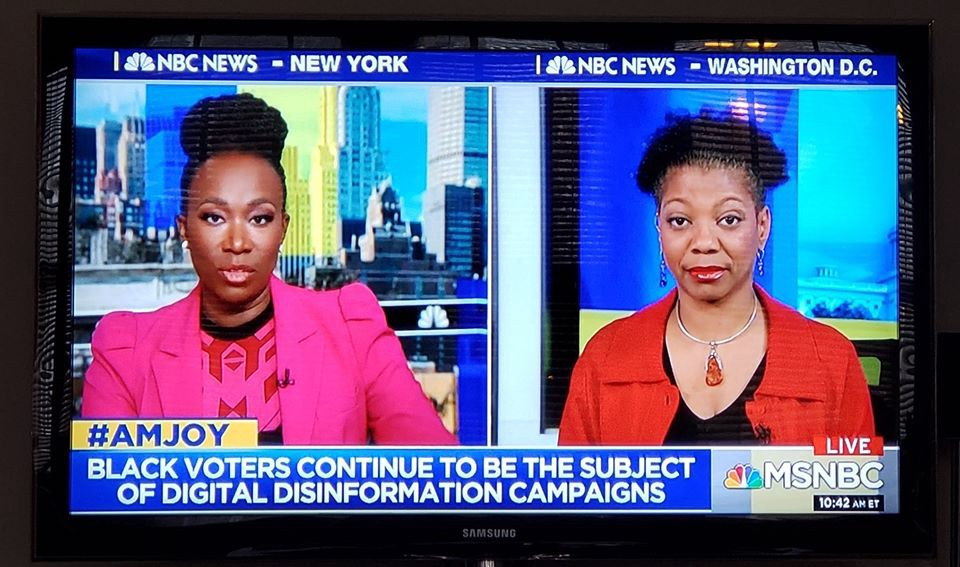 """Pictures of Joy Reid and Shireen Mitchell, with a chyron on the bottom saying """"#AMJOY: Black Voters continue to be the target of digital disinformation campaigns"""" and the MSNBC logo"""