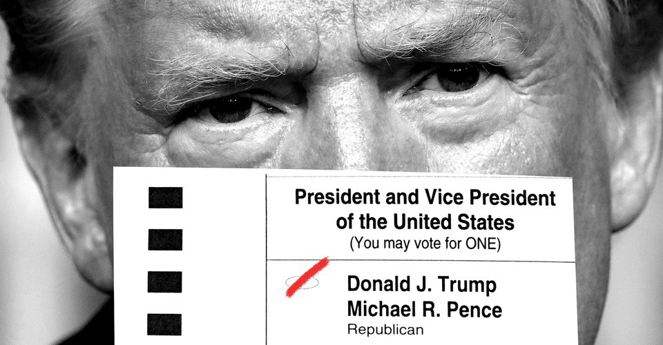 A black-and-white photo of Trump's face, overlaid with part of a ballot with Trump and Pence checked off in red.