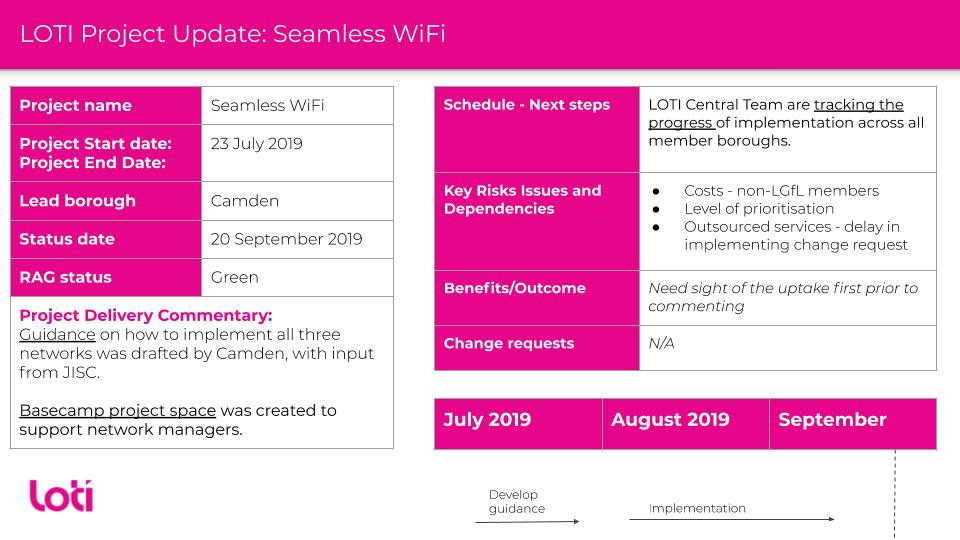 Project update for the LOTI Seamless WiFi project