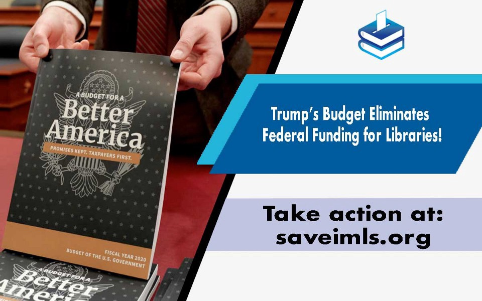 Image of United States budget and a link to saveimls.org