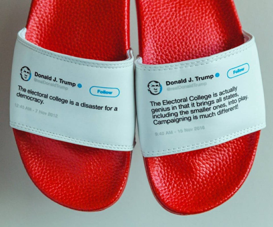 Red flip-flops with Trump tweets about the 2016 and 2020 elections on them.