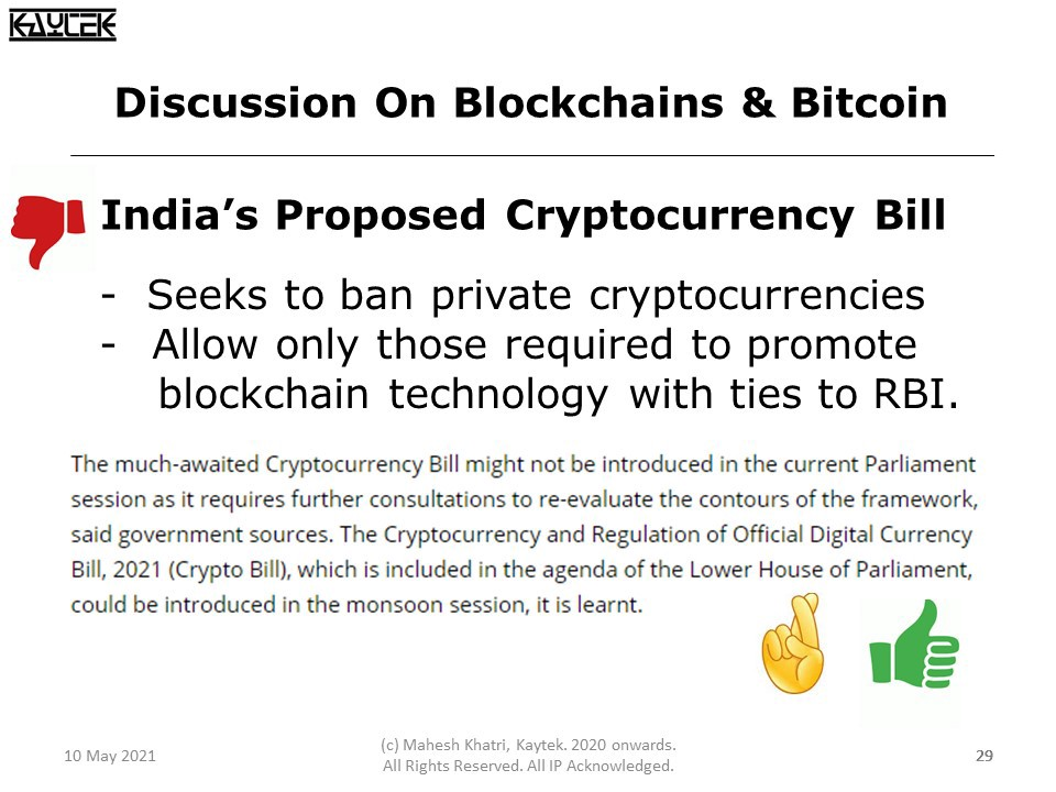 India's proposed Cryptocurrency Bill seeks to allow only those cryptocurrencies that will be linked to the RBI (Reserve Bank of India) blockchain.