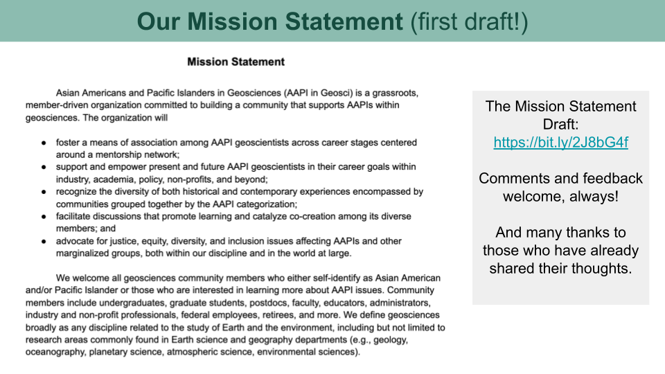 An image of the first draft of the Mission Statement.
