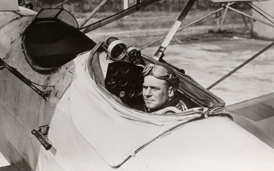Jimmy Doolittle in the cockpit of a biplane