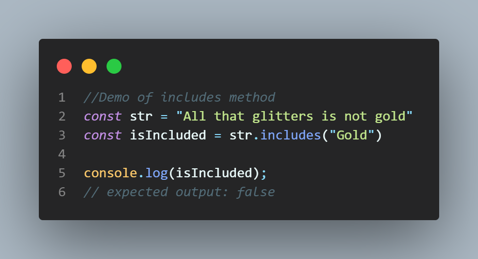 example for string.includes