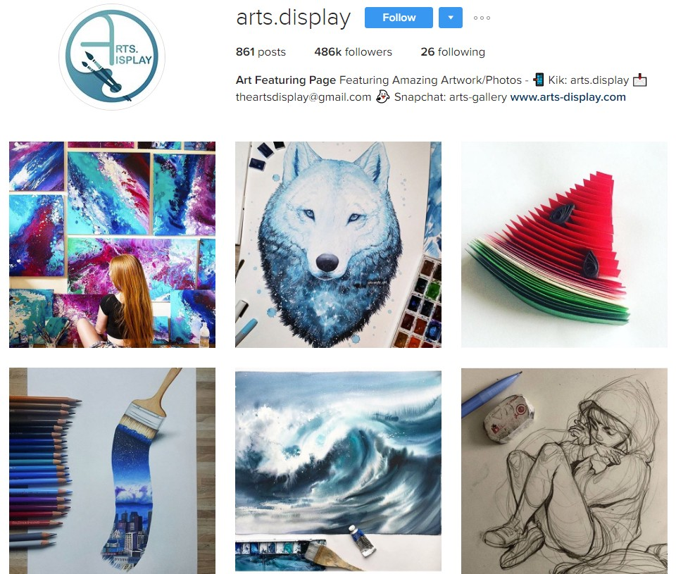 A selection of images from an artist's Instagram account.