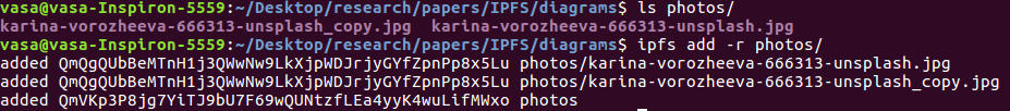 Adding multiple photos with ipfs