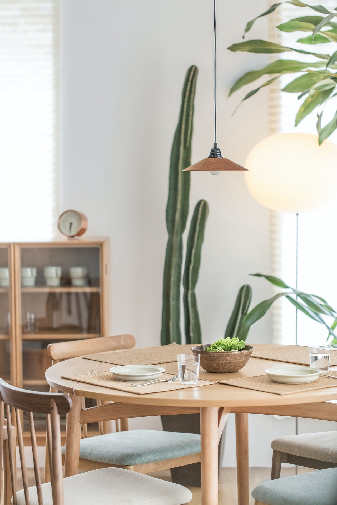 Wooden table and chairs with cactus in background