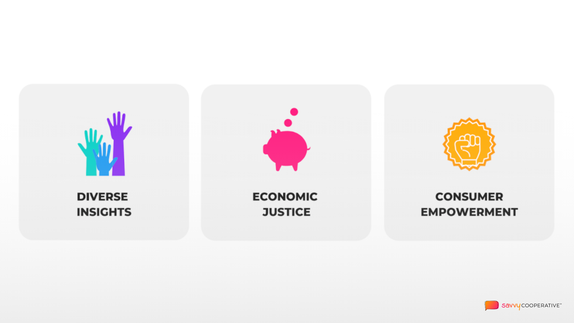 savvy coop value pillars of diverse insights, economic justice, consumer empowerment