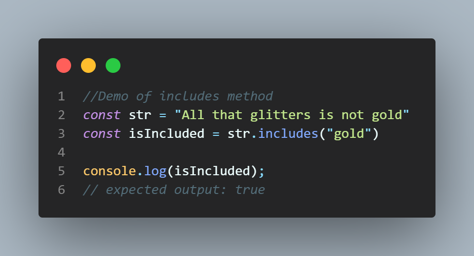 example of string.includes