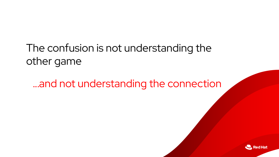 The confusion is not understanding the other game. …and not understanding the connection — Jabe Bloom, Red Hat