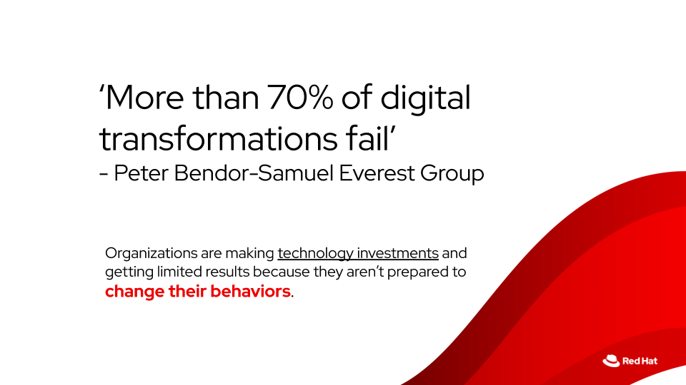 Focus is often too much in the area of just technology. A change in behaviors throughout the organization should be aspired.
