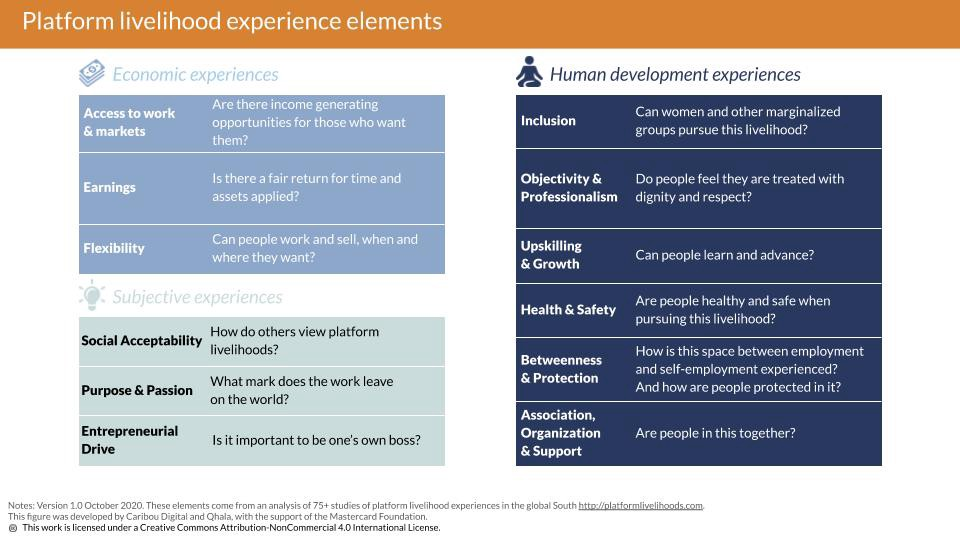 A table with 12 elements of platform livelihoods
