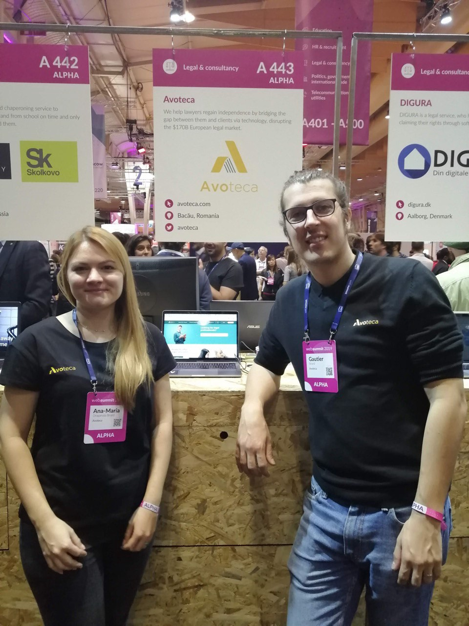 Avoteca team in front of our booth at the Web Submmit.