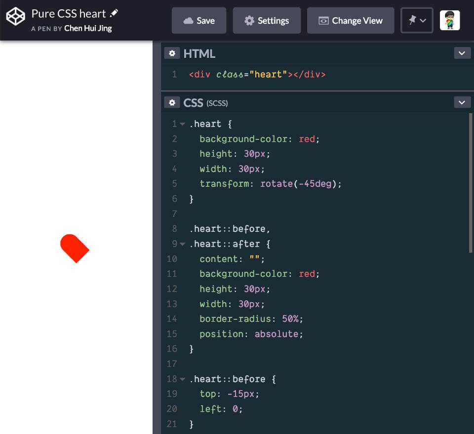 The Anatomy of a Pure CSS Heart ❤ - Bits and Pieces