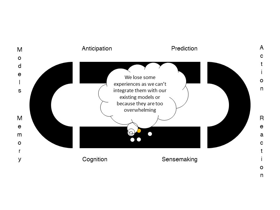 Sensemaking: we lose some experiences as we can't integrate them with our existing models or they are too overwhelming