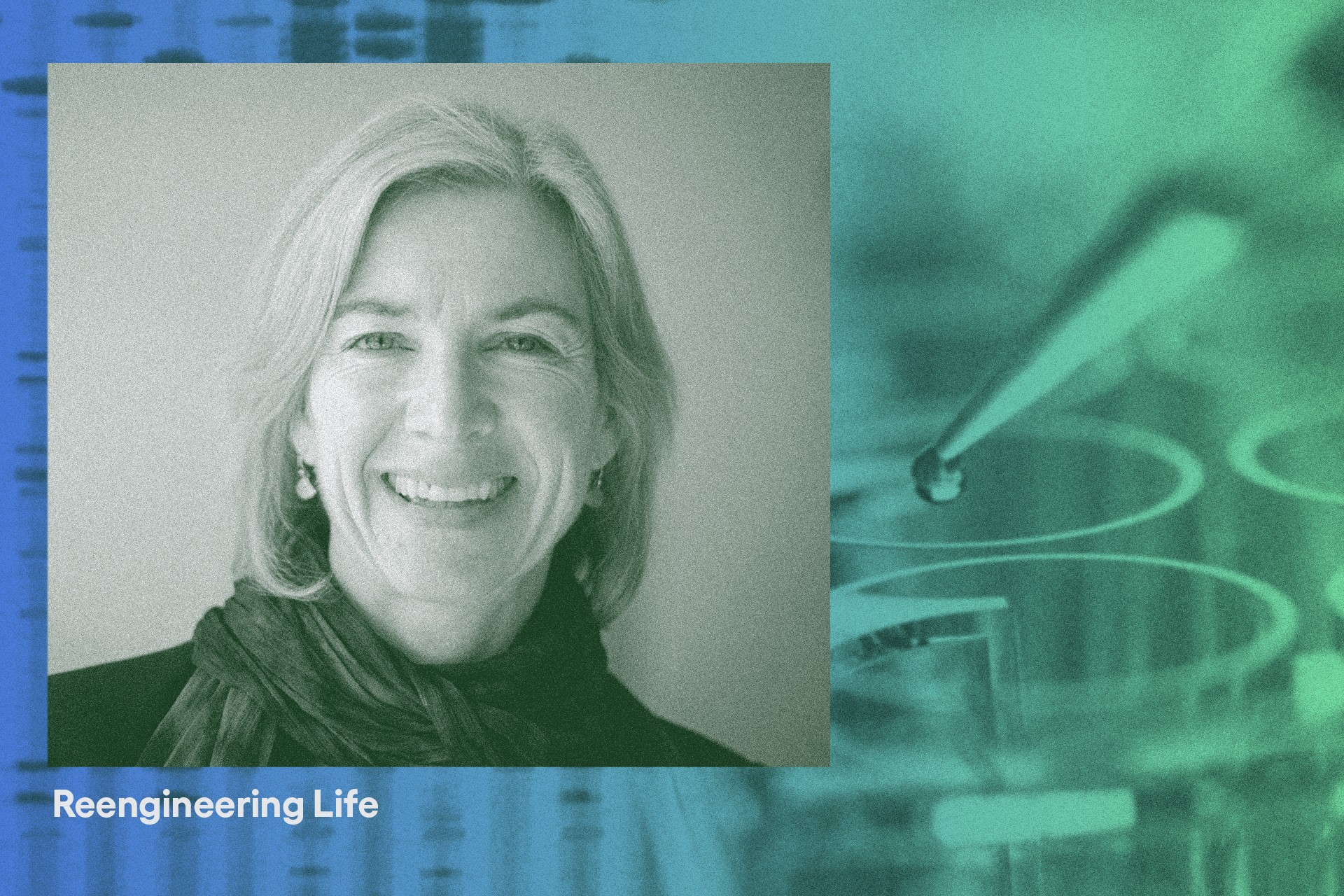 Photo of Jennifer Douda against a blue-to-green filtered image of pipette.