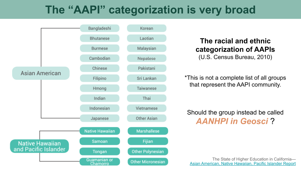 A relational diagram showing examples of different racial and ethnic categories under the AAPI umbrella term.