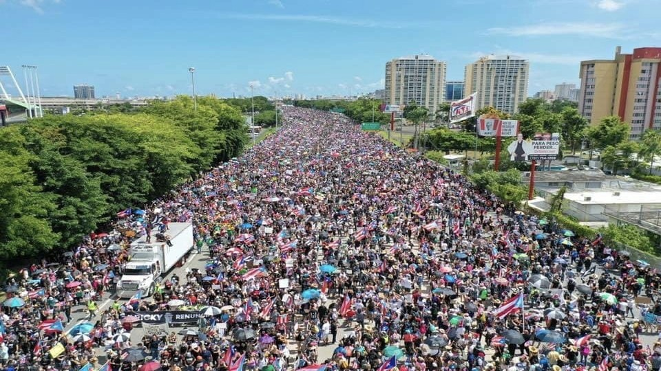 Thousands filled the streets on San Juan to protest the former Governor of Puerto Rico, Ricky Rosselló.
