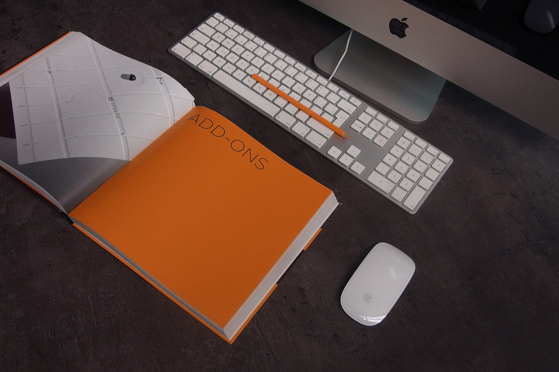 computer and orange book