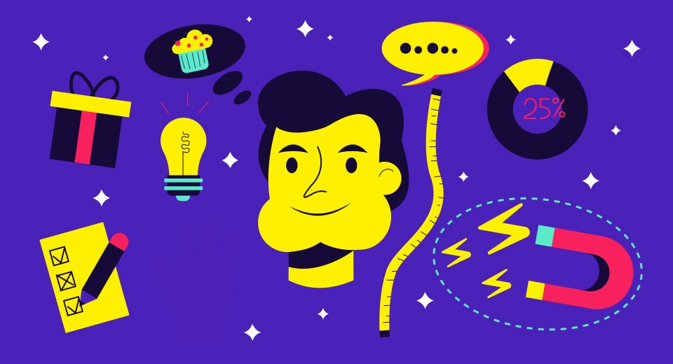Man with a lightbulb, measuring tape, speech bubble, wrapped present, thought bubble with a cupcake inside, and a magnet.