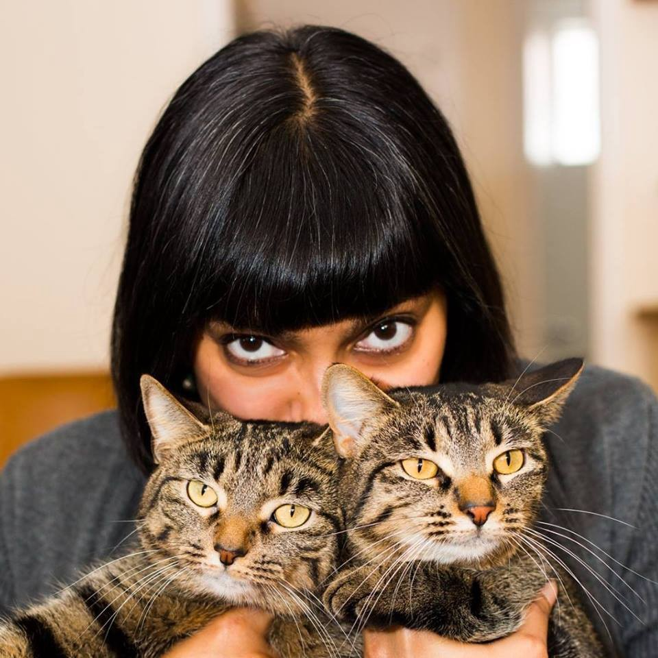 Author holding her two beautiful tabby cats in front of her face.