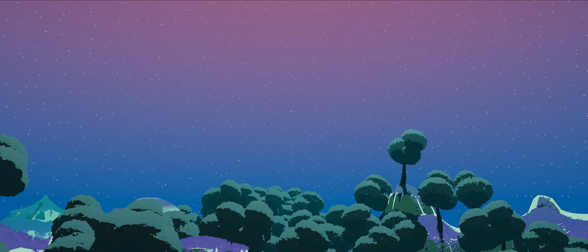 the skybox in game, stars on a gradient sky behind a landscape of trees