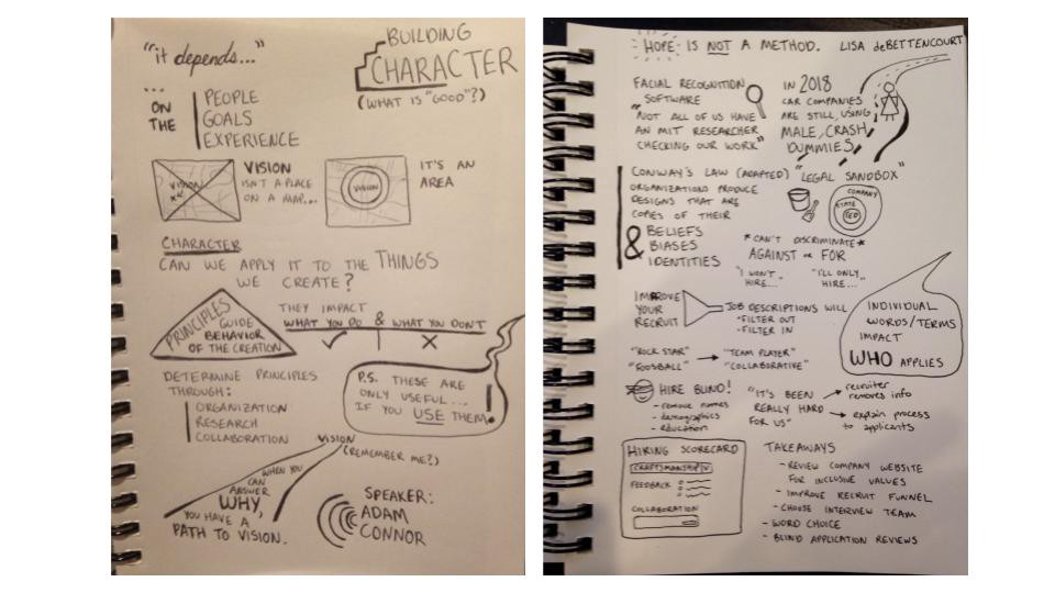 Two open notebook pages showing the author's earliest attempts at sketchnotes, using lots more words than images.