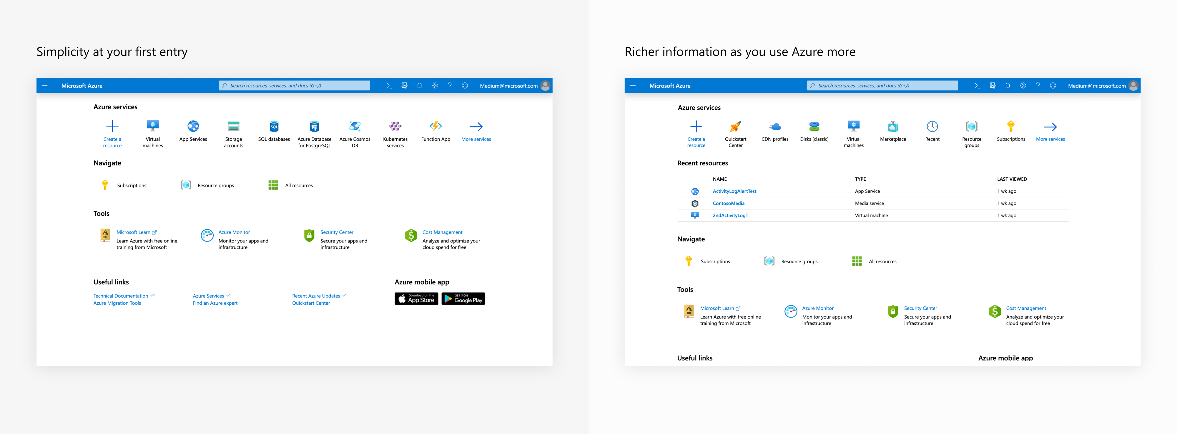 Left: The simpler Azure portal home page; Right: Richer information as you use Azure more.
