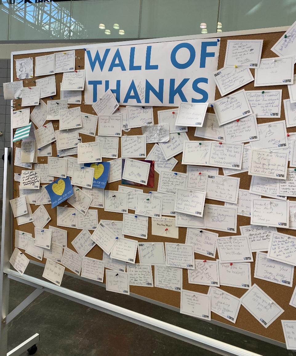 The Wall of Thanks at the Javits Center. Photo by author.