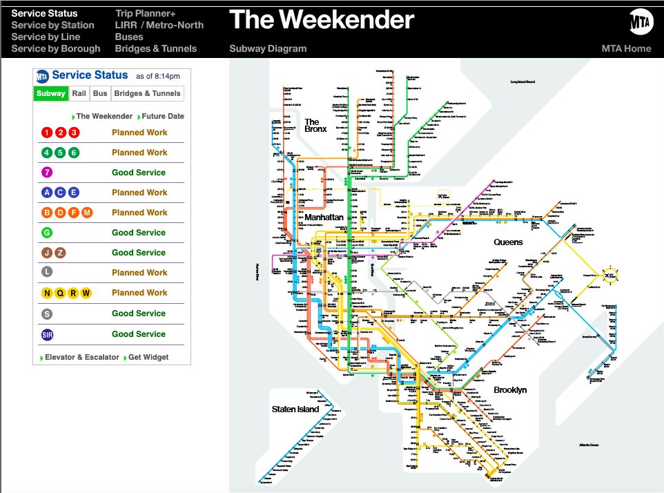 Snapshot of The Weekender giving real-time information on subway service status.