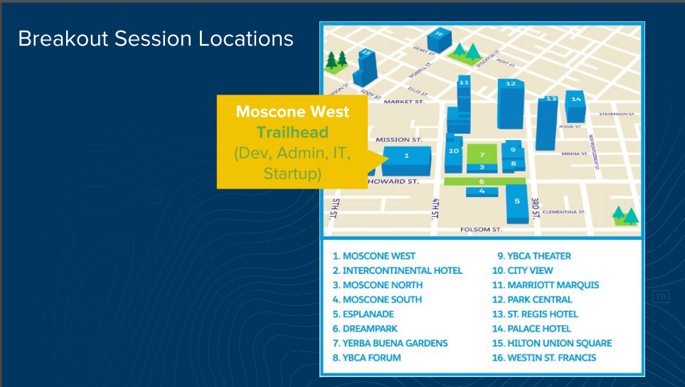 How to Plan for the Best Dreamforce Experience - Teresa ... Dreamforce Campus Map on