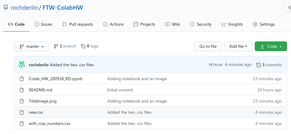 A screenshot of my GitHub repository page, showing the newly added files.