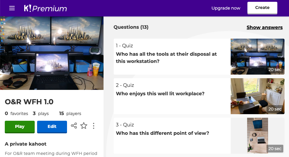 The admin page for creating a Kahoot! quiz with three questions, each with a photo of a different working from home set up.