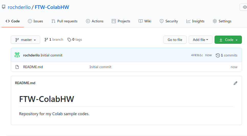 A screenshot of my newly created, empty repository in GitHub.
