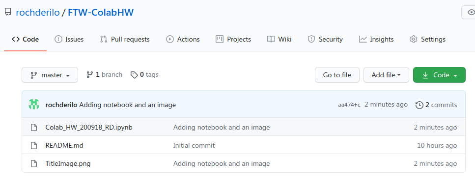 A screenshot of GitHub repository with files added into it.