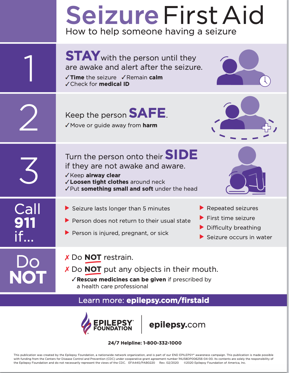 Seizure First Aid: Stay with the person until they regain consciousness. Keep them safe. Call 911.