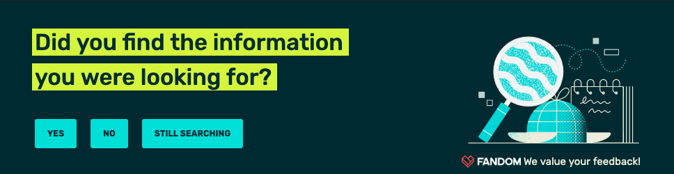 Dark, navy background, yellow box around text `Did you find the information you were looking for?`, blue, aqua buttons