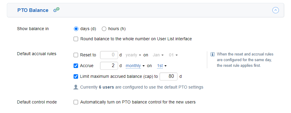 PTO Balance settings in actiTIME