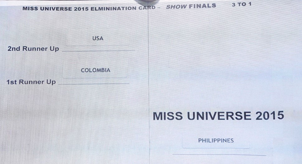 Announcement card for the Miss Universe 2015 pageant