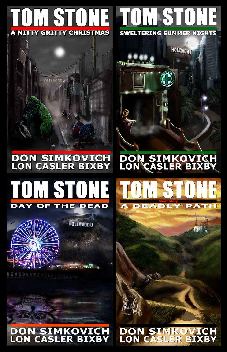 Covers for Tom Stone novels and short story.