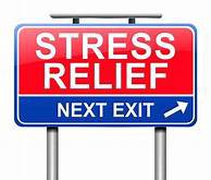 A funny and utilitarian sign that states: Stress Relief at the next exit.