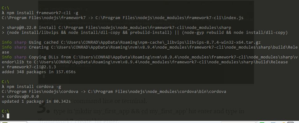 How to create an Android or iOS app with Framework7 and Cordova