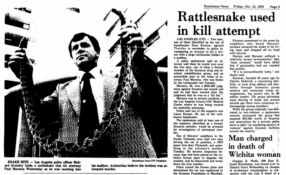 Newspaper article: Synanon rattlesnake crime