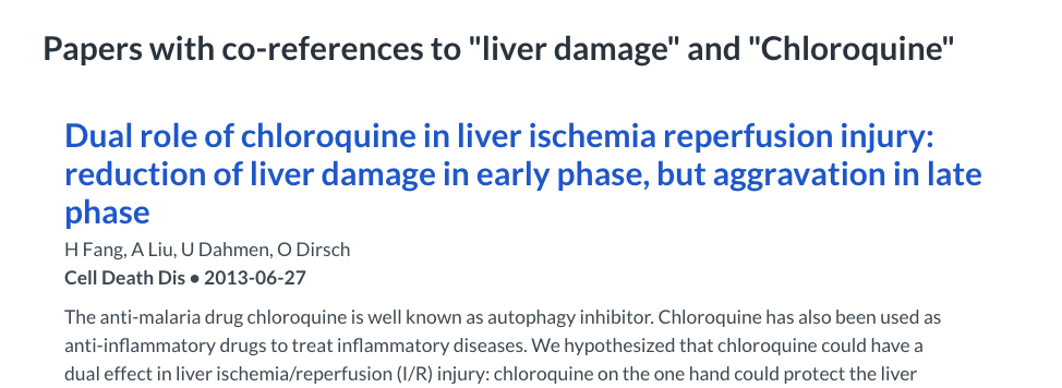 A screenshot of the abstract of a publication that discusses the connection between chloroquine and liver damage.