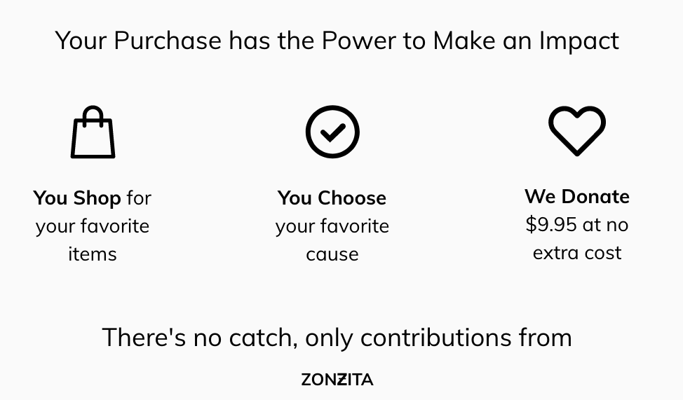Your purchase at ZONZITA has the power to make an impact
