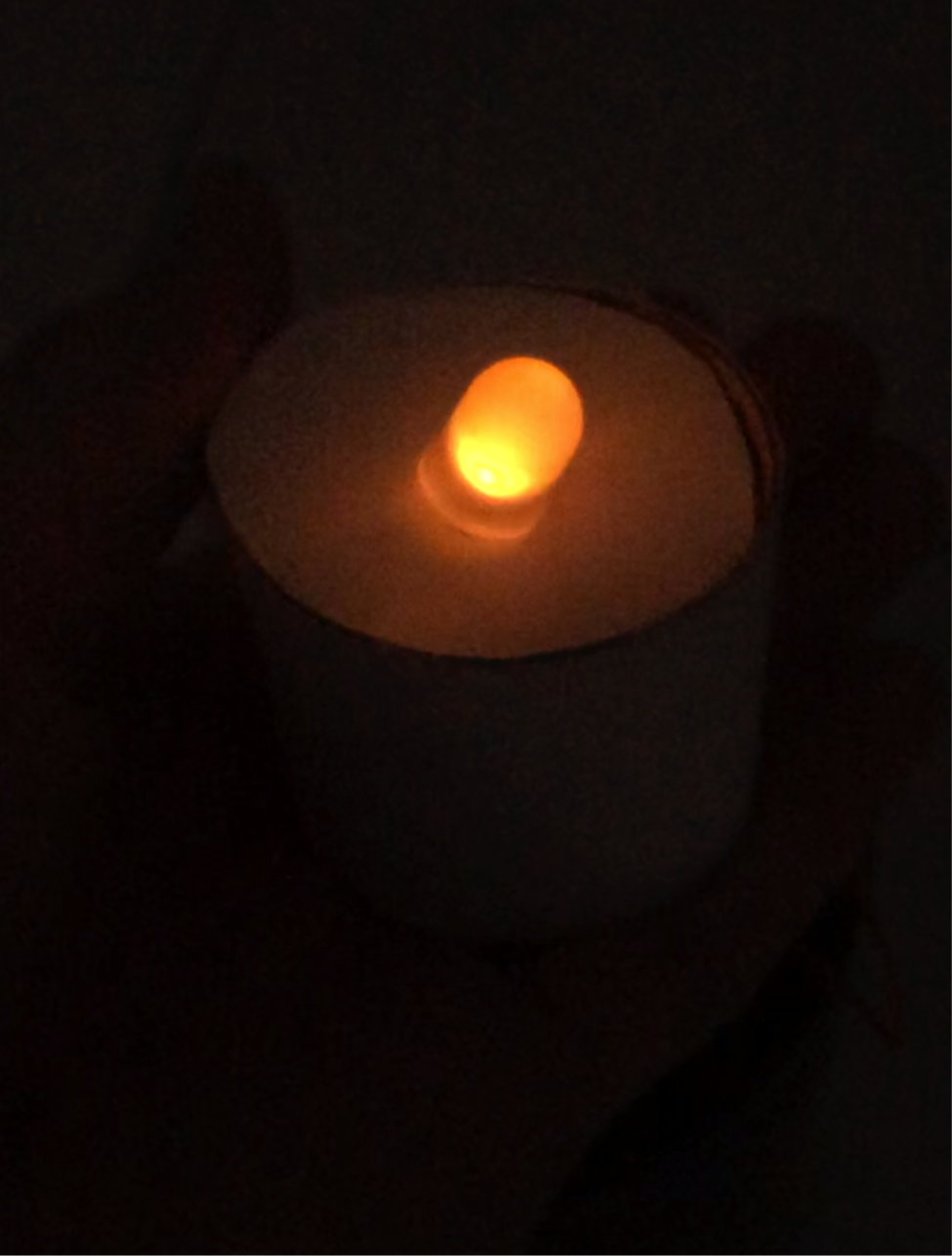 A tea light glowing, powered by microbes