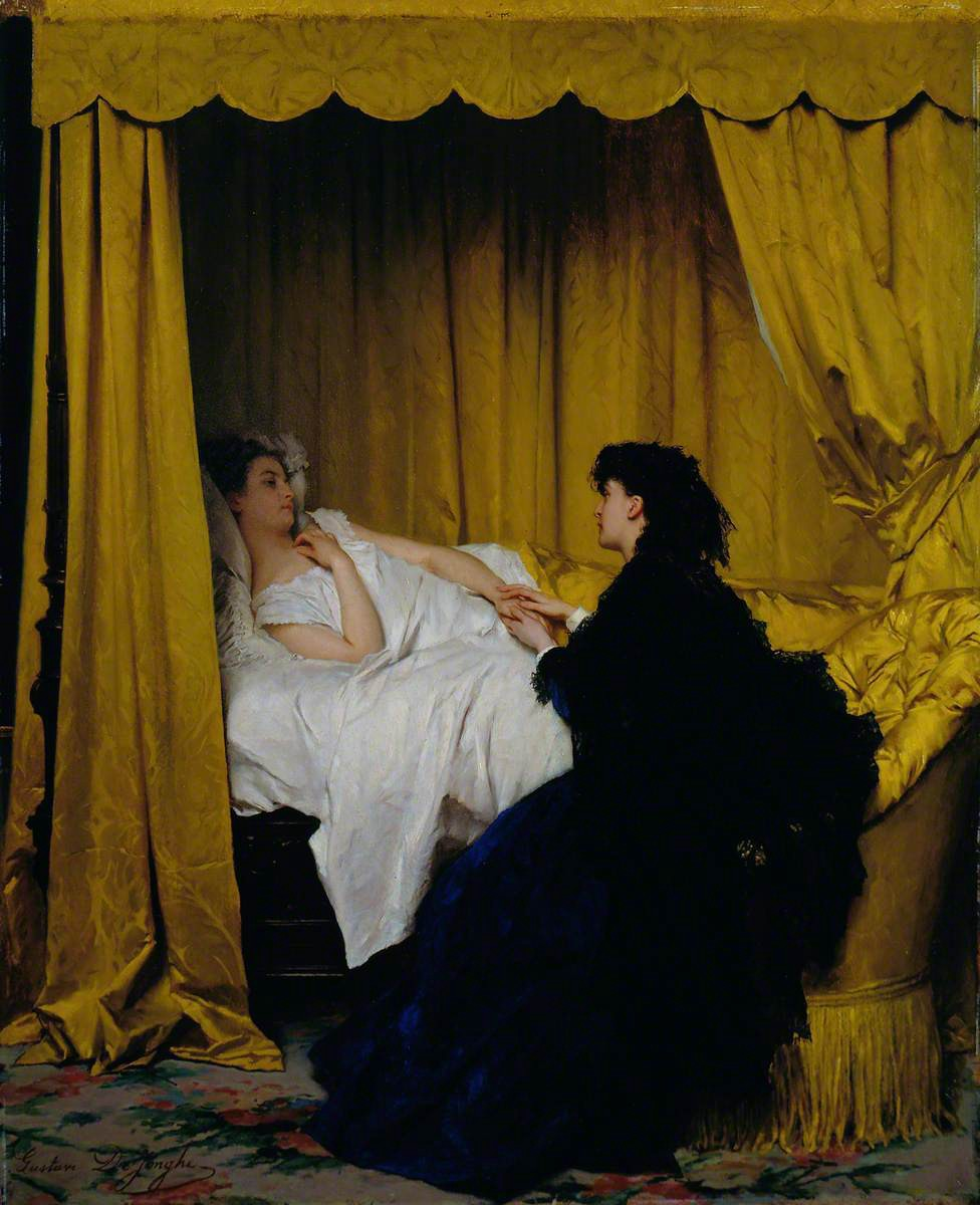 """Painting of """"The Convalescent"""", Gustave Leonhard de Jonghe (1829–1893)"""
