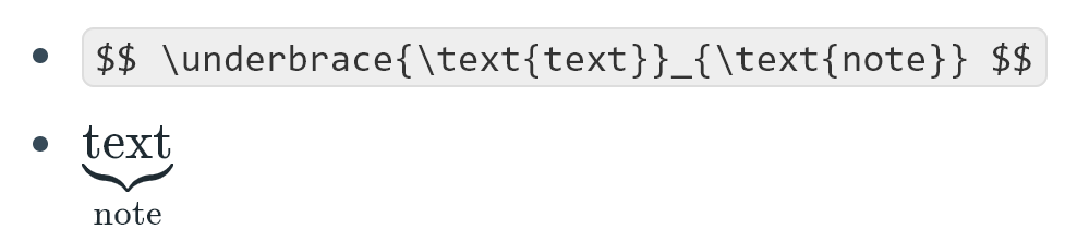LaTeX for a curly brace under the text.
