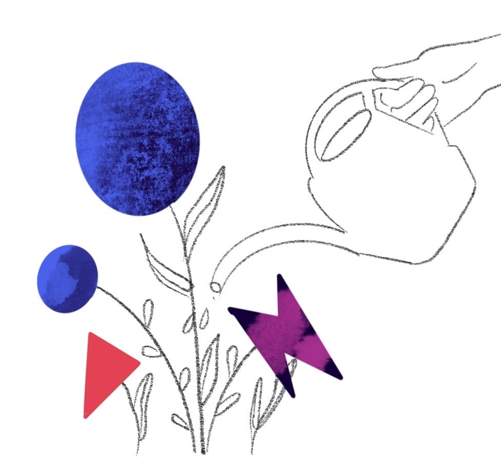An abstract illustration of black and white plants with colorful shapes as flowers. The plants are being watered by somebody.